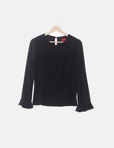 Blusa negra mangas combinadas