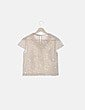Blusa de malla beige con abalorios Zara