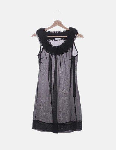 Vestido semitransparente negro