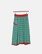 Conjunto top y falda tricot estampado verde y rojo Sahoco