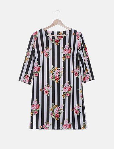 Vestido de rayas print floral