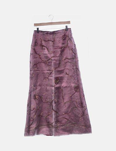 Conjunto falda tul rosa bordado con chal