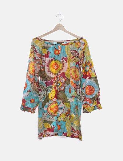 Blusa multicolor con pailettes