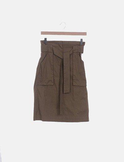 Falda midi khaki paperbag