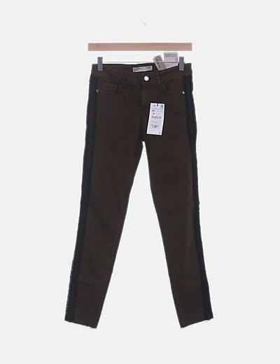 Jeans denim skinny verde desflecado