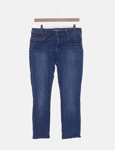 Jeans denim azul recto