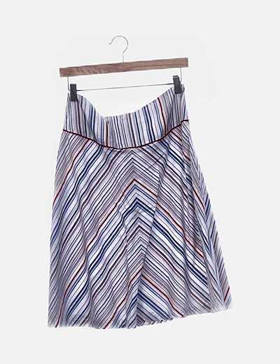 Falda de rayas multicolor