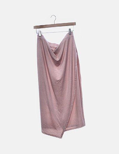Falda fluida rosa cruzada