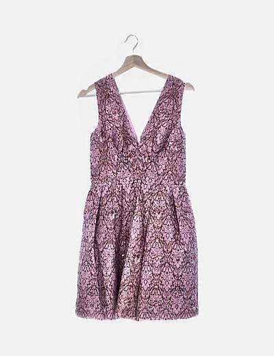 Vestido evase rosa con strass