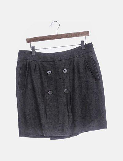 Falda gris texturizada