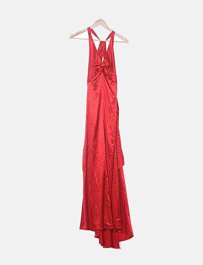 Vestido maxi satinado rojo