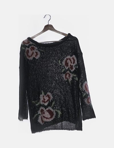 Jersey de lana negro floral