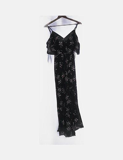 Vestido fluido negro floral detalles plisados
