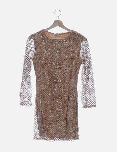 Vestido nude glitter
