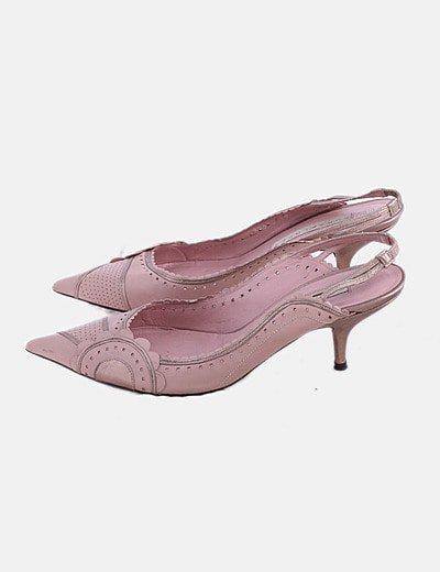 Zapato de punta rosa destalonado