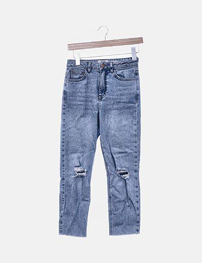 Jeans mom fit claros desflecados