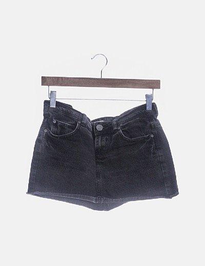 Falda denim negra