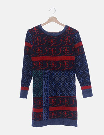 Vestido tricot azul marino estampado