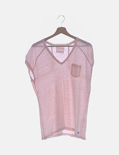 Camiseta rosa lino