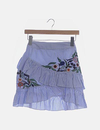Falda volantes rayas azules