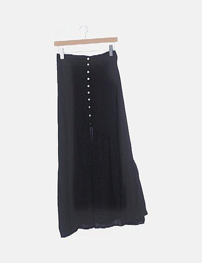 Falda maxi negra abotonada