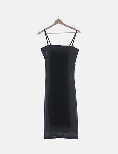 Vestido de tirantes negro glitter