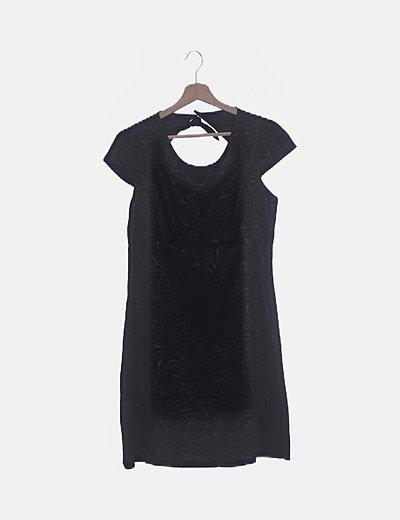 Vestido negro texturizado glitter espalda abierta