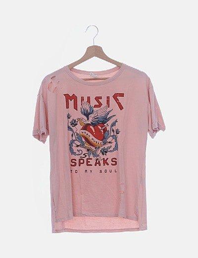 Camiseta rosa palo print con rotos