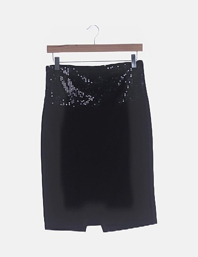 Falda midi negra cintura paillettes