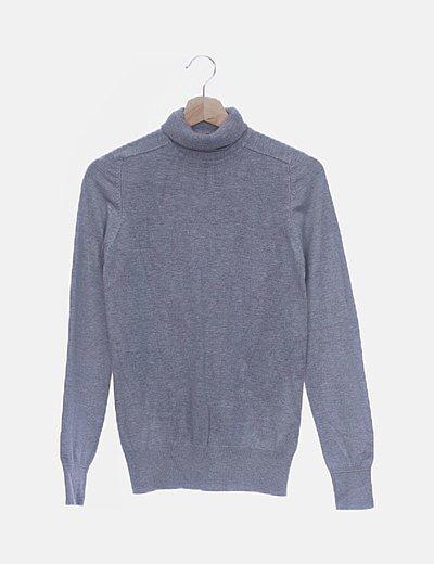 Jersey tricot gris claro cuello vuelto