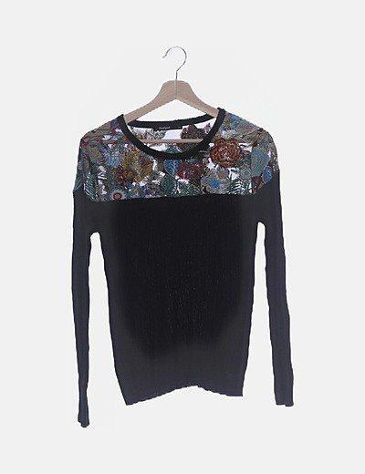 Jersey tricot con bordados multicolor