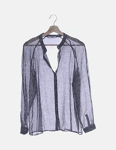 Blusa transparente estampada