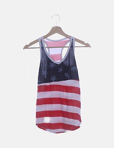 Camiseta estampada con espalda nadadora