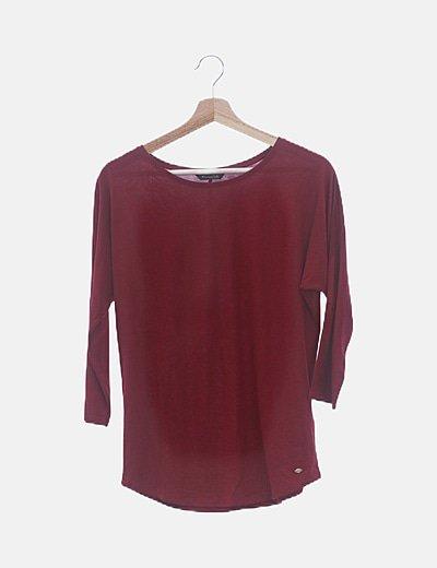 Camiseta granate de algodón