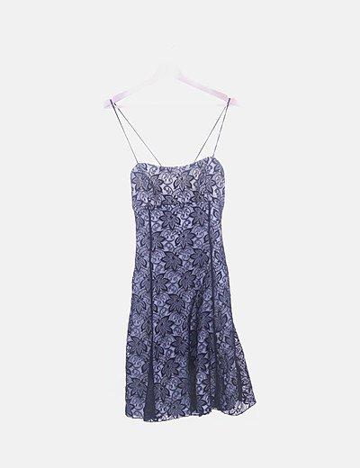 Vestido de fiesta bordado de flores espalda entrelazada