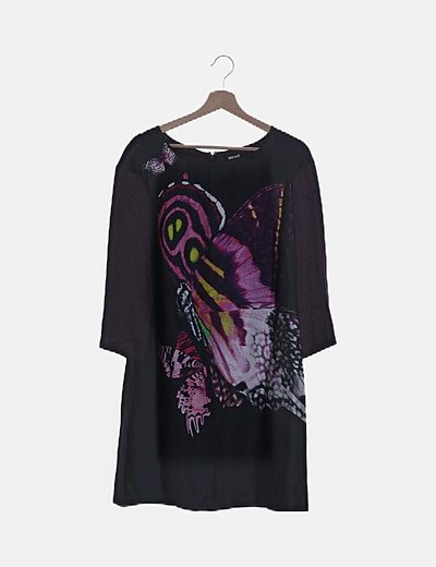Vestido seda bicolor estampado