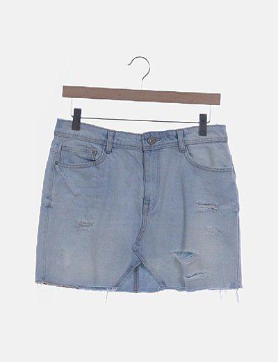 Falda denim azul ripped