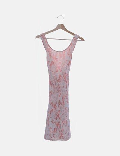 Vestido texturizado blanco print rosa