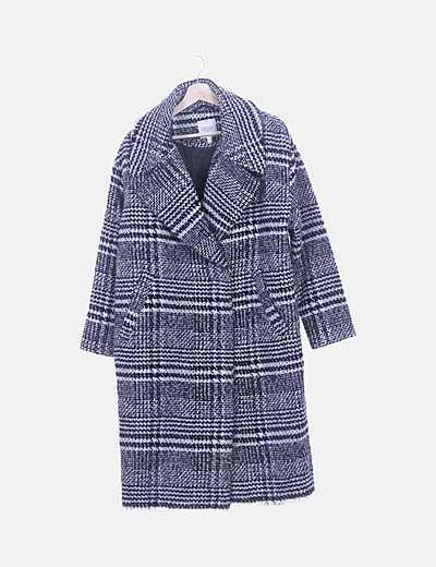 Abrigo lana pata de gallo blanco y negro