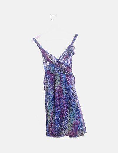 Vestido gasa azul marino estampado colores