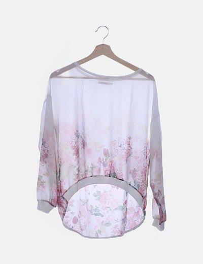 Blusa transparente floral manga larga