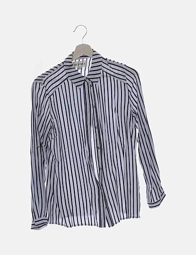 Camisa blanca rayas negras
