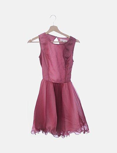 Vestido de tul rosa degradado espalda descubierta