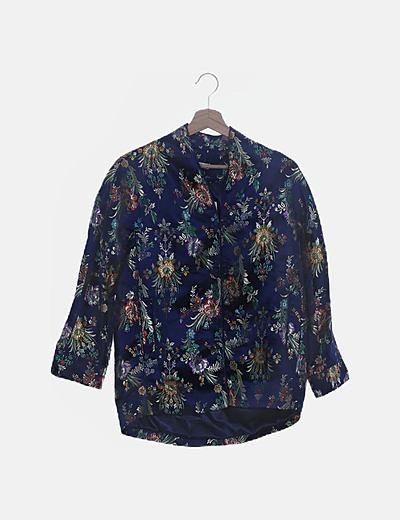 Kimono azul marino floral