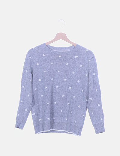 Jersey tricot gris print estrella