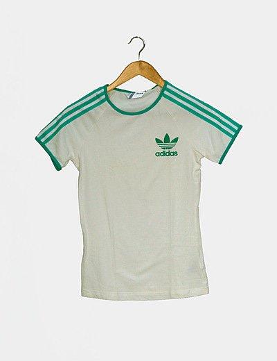 Camiseta blanca rayas verdes