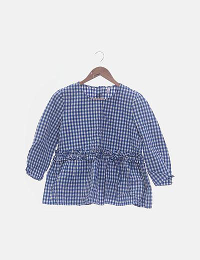 Blusa peplum cuadro vichy azul