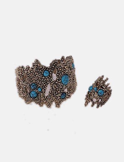 Conjunto de anillo y pulsera gold con piedras azules