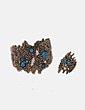 Conjunto de anillo y pulsera gold con piedras azules Bimba&Lola