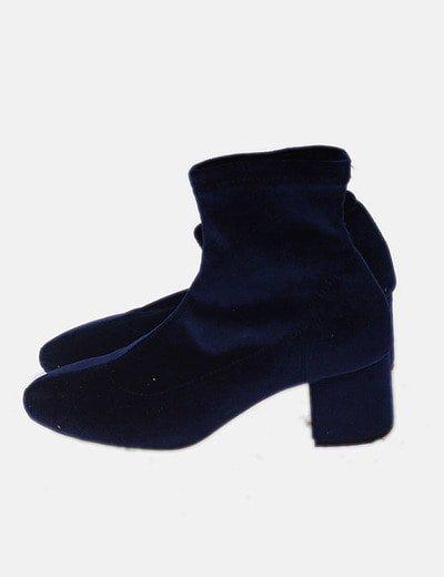 Botín calcetín velvet azul